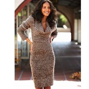 Brown/Cream Sweater Dress